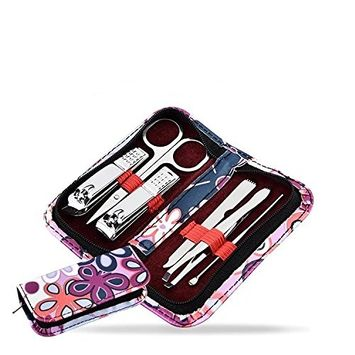 LETB Manicure Pedicure and Beauty Grooming Kit, 6 Pcs Nail Clippers, Personal Care Mani Pedi Set With Nail Scissors Nail Clippers, Pocket Size, Perfect for Travel or for Gift, Flower Pattern Case