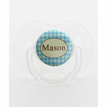 Personalized Name Blue and Ivory Plaid Pacifier