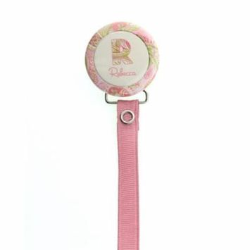 Personalized Name Pink Paisley Pacifier Clip