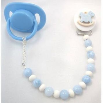 Rocking Horse Pacifier Clip with Wooden Beads