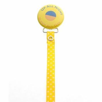 Yellow Up All Night Pacifier Clip