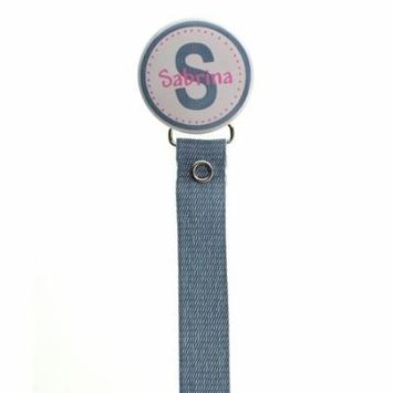 Personalized Name Denim & Hot Pink Pacifier Clip