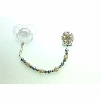 Vintage Flower and Pearl Pacifier Clip