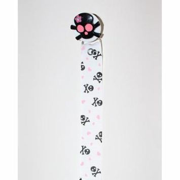 Black & Pink Skull Crossbone Pacifier Clip with Matching Ribbon