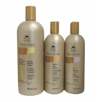 KeraCare Hydrating Detangling Shampoo 32 oz, KeraCare Humecto Conditioner 16 oz, KeraCare Oil Moisturizer with Jojoba Oil 16 oz Combo Set