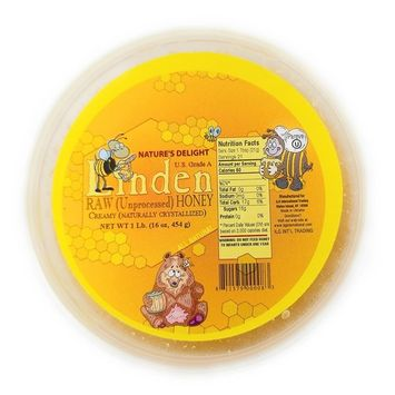 Linden RAW (Unprocessed) Honey Creamy Naturally crystallized US Grade A. Net Wt 1LB (16oz, or 454g)