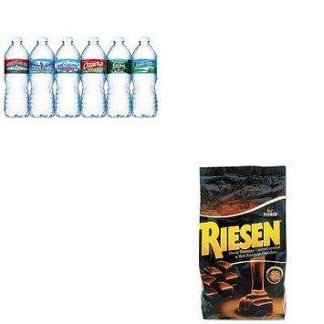KITNLE101243RSN398052 - Value Kit - Riesen Chocolate Caramel Candies (RSN398052) and Nestle Bottled Spring Water (NLE101243)