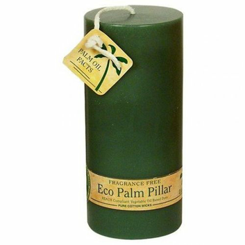 Aloha Bay Eco Pillar Candle 2 inch x 5 inch Unscented Green Case of 6