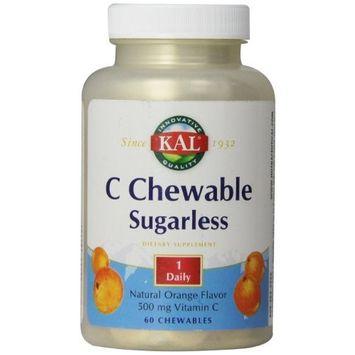 KAL Vitamin C Chewable Tablets, Sugarless Orange, 500 mg, 60 Count