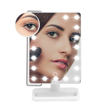 20 Leds Makeup Mirror with light and Magnifier for Tabletop Led Makeup Mirror for Girls Beauty White