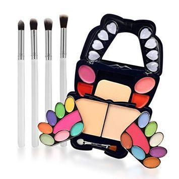Women Eyeshadow DEESEE(TM) 4Pcs Makeup Brush + Eye Shadow Blush Cosmetics Matt Shimmer Glitter Palette Set