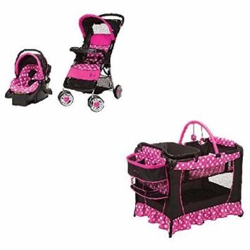 Disney Baby Gear Stroller And Travel System Bundle With Stroller, Infant Car Seat, Musical Swing OR Playard Playpen With Bassinet And Diaper Changer (Disney Minnie Dot)