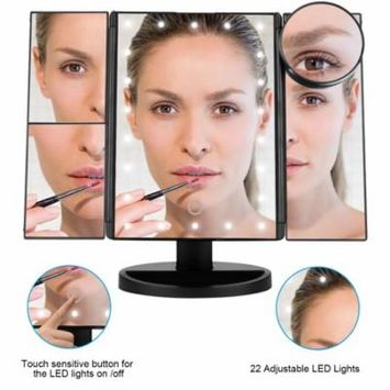 Makeup Vanity Mirror with 21 LED Lights, 3X/2X Magnifying Led Makeup Mirror with Touch Screen,Dual Power Supply,180° Adjustable Rotation,Countertop Cosmetic Mirror