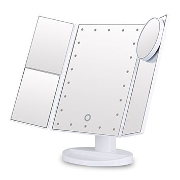 Vanity Makeup Mirror Trifold 22 LED Lighted with Touch Screen, 2x/3x Magnification and 10x Magnifying Spot, Foldable 180°Adjustable Stand for Countertop Bathroom Cosmetic Makeup White