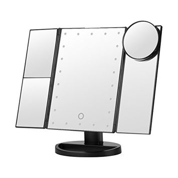 Vanity Makeup Mirror Trifold 22 LED Lighted with Touch Screen, 2x/3x Magnification and 10x Magnifying Spot, Foldable 180°Adjustable Stand for Countertop Bathroom Cosmetic Makeup Black