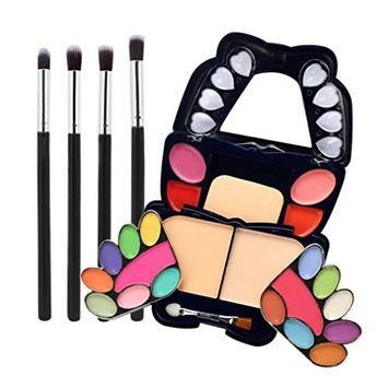 Creazy 4Pcs Makeup Brush + Eye Shadow Blush Cosmetics Matt Shimmer Glitter Palette Set