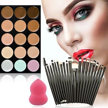 Creazy 15-Color Concealer +20 Makeup Brush + Water Puff Puff Powder Puff