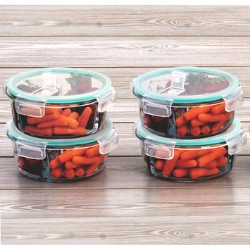 4 Pack 3 Divider Compartment Round Glass Meal Prep Container Snap Locking Lid