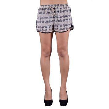 Sans Souci Sporty California Palm Tree Prints Lace Trim Drawstring Mini Shorts