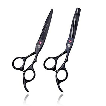 Purple Dragon Professional Barber Hair Cutting Scissor and Thinning Shear Set in 6