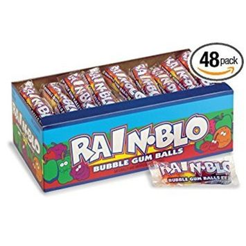 Rain-blo Bubble Gum Balls, 0.53 Ounce Tube, Pack of 48