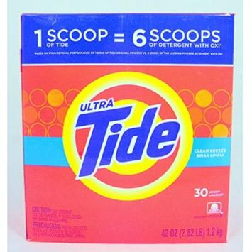 2 Pk, Tide Ultra He Clean Breeze Scent Powder Laundry Detergent 30 Loads 42 Oz