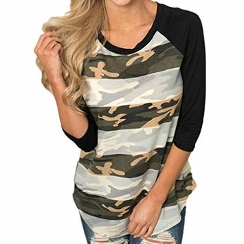 Spring Autumn Winter Women Camouflage Casual Splicing O-Neck T-Shirt Blouse Tops