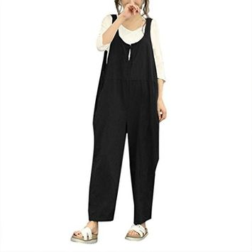 Fheaven Women Sleeveless Casual Dungarees Loose Cotton Long Playsuit Jumpsuit Panst Trousers