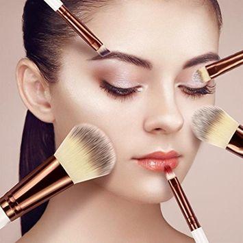 Fheaven 5 Pcs Makeup Brushes Set Foundation Powder Eyeshadow Eyeliner Lip Brush Tools