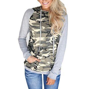Fheaven Womens Camouflage Sweatshirt Printing Pocket Hoodie Pullover Tops Blouse