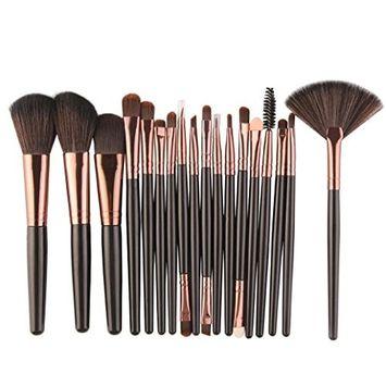 18 pcs Makeup Brush Set - Fheaven Wool Make Up Brush Set -Foundation Powder ,Lip ,Mascara ,Eyeshadow ,Two Side ,Eyebrow Mascara ,Sponge ,Smudge ,Nose Shadow ,Eyeliner Brush