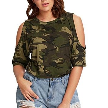 Fheaven Summer Casual Top - Women O-Neck Plus Size Camouflage Tops T-Shirts Cold Shoulder Blouse