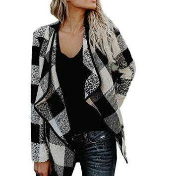 Fheaven Women Woolen Coat Keep Warm Lapel Neck Grid Cardigan Coat Long Sleeve Jacket