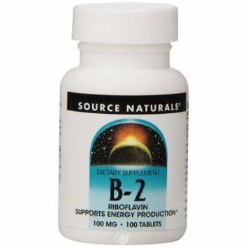 Source Naturals Vitamin B-2 100mg, 100 Tablets , Pack of 2