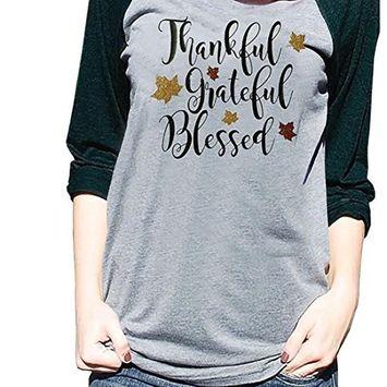 Fheaven Women Ladies Long Sleeve Tops Patchwork T Shirt thankful gateflu blessed Blouse