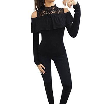Fheaven Women Ladies Winter Autumn Off Shoulder Lace Neck Blouse Top Ruffle Frill Long Sleeve Shirt Tops