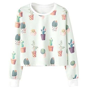 Fheaven Women Ladies Sweatshirt Cactus Potting Long Sleeve Crop Blouse Pullover Tops