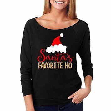 Women Fashion Christmas Sweatshirt Casual Santas Print Blouse Tops Pullover