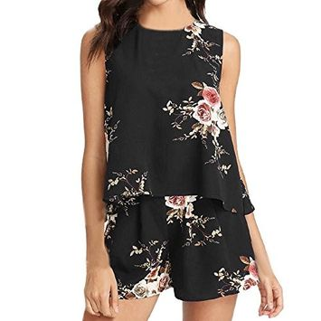 Fheaven Women Floral Sleeveless Shirt Vest Blouse + Summer Shorts Two-Piece Outfit