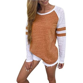 Fheaven Fashion Women Ladies Strip Long Sleeve Splice Blouse Tops Clothes T Shirt