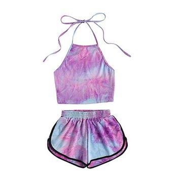 Fheaven Women's Summer Beach 2 Piece Set Halter Backless Crop Top and Shorts Set