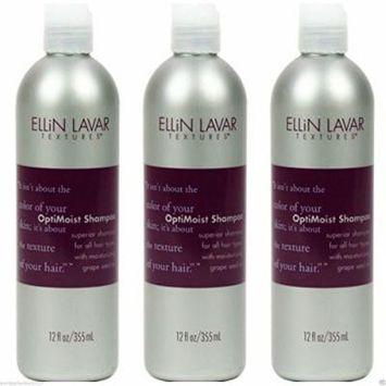 Lot of 3 Ellin Lavar OptiMoist Shampoo 12 fl oz