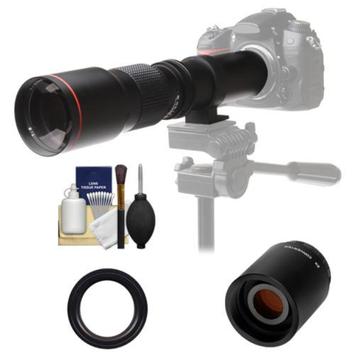 Vivitar 500mm f/8.0 Telephoto Lens with 2x Teleconverter (=1000mm) + Accessory Kit for Sony Alpha DSLR SLT-A37, A57, A58, A65, A77, A99 DSLR Cameras