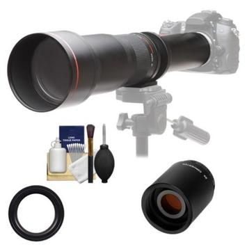 Vivitar 650-1300mm f/8-16 Telephoto Lens (Black) with 2x Teleconverter (=2600mm) + Accessory Kit for Canon EOS 6D, 70D, 5D Mark II III, Rebel T3, T3i, T4i, T5, T5i, SL1 DSLR Cameras