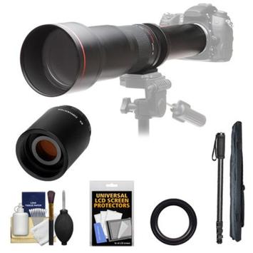 Vivitar 650-1300mm f/8-16 Telephoto Lens (Black) with 2x Teleconverter (=2600mm) + Monopod + Accessory Kit for Nikon D3200, D3300, D5200, D5300, D7000, D7100, D610, D800, D810, D4s DSLR Cameras