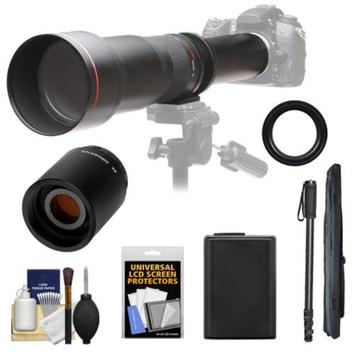 Vivitar 650-1300mm f/8-16 Telephoto Lens (Black) with 2x Teleconverter (=2600mm) + NP-FW50 Battery + Monopod + Accessory Kit for Sony Alpha A33, A35, A37 Digital SLR Cameras