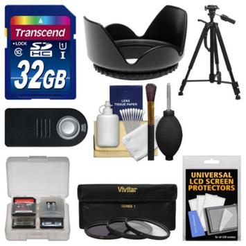 Vivitar Essentials Bundle for Nikon D5200, D5300, D7100 DSLR Camera & 18-140mm VR Lens with 32GB Card + Tripod + + Remote + 3 UV/CPL/ND8 Filter Kit