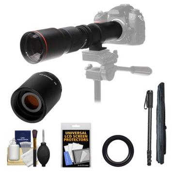 Vivitar 500mm f/8.0 Telephoto Lens with 2x Teleconverter (=1000mm) + Monopod + Accessory Kit for Nikon D3200, D3300, D5200, D5300, D7000, D7100, D610, D800, D810, D4s DSLR Cameras