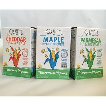 Quinn Reinvented Popcorn Variety 3 Pack: 1 box each of NEW White Cheddar, Vermont Maple, and Parmesan and Rosemary