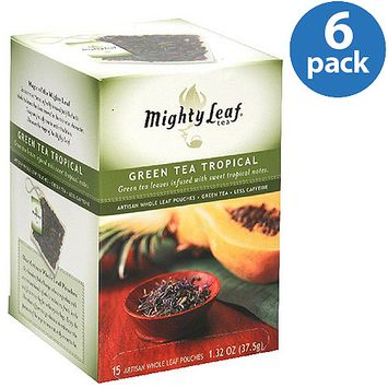 Mighty Leaf Green Tea Tropical Tea Pouches, 1.32 oz, (Pack of 6)